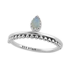 Sterling Silver Moonstone Teardrop Gemstone Stacking Band Ring. Boho Jewellery