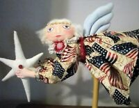 Primitive Folk Art Flying Patriotic Freedom Angel Doll Handmade in America