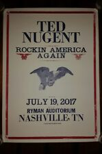 TED NUGENT Ryman HATCH SHOW PRINT Nashville 2017 Poster American Flag USA Trump