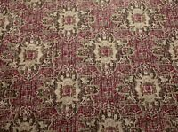 Heirloom Tribal Geometric Floral Mulberry Pink Upholstery Fabric By The Yard