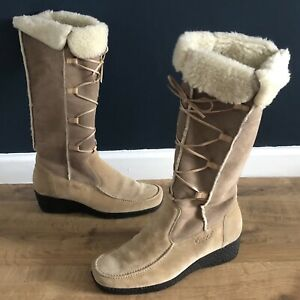 Gabor Suede Leather Side Zip Boots Size UK 5.5 Women's Pull On Shoes In Beige