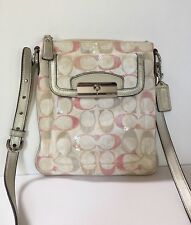 Coach Kristin Signature Embellished Swingpack No 47476 Silver/Pink Multicolor