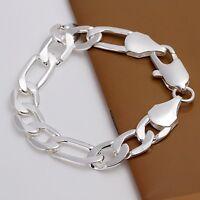Wholesale 925Sterling Solid Silver Men Jewelry 12MM Chain Bracelet For Women