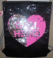 Girls Justice Drawstring Bag Tote Girl Hero Black Pink New Flip Sequins