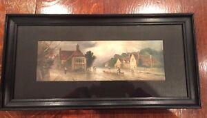 Vintage Landscape  print  Art picture wood framed & Wood lining《1》 27cmx55cm