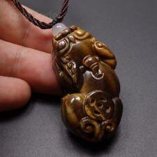 Pendant & Cord Necklace - PiXiu 15027 100% Natural Yellow Brown Tigers eye Jade
