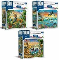 3 x 1000 Piece Jigsaw Puzzles King of the Jungle + Savannah Jungle + Dolphins