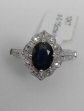 10K White Gold Oval Shape Blue Sapphire and Diamond 0.15ct Pave Ring Size 7 New