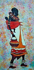 Vintage African Maasai Art Batik Fabric Print Wall Hanging