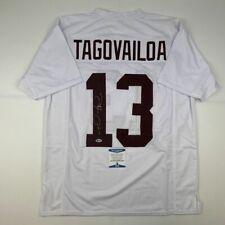 Autographed/Signed TUA TAGOVAILOA Alabama White College Football Jersey BAS COA