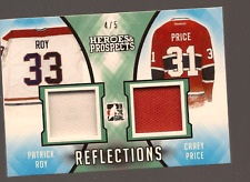 PATRICK ROY & CAREY PRICE 16-17 LEAF HEROES & PROSPECTS DUAL GAME USED JERSEY /5