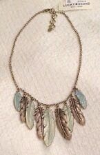LUCKY BRAND NECKLACE, PATINA FEATHERS, GOLDTONE METAL, NWT, $45