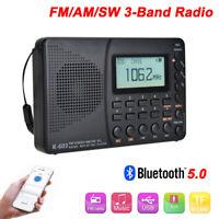 Bluetooth 5.0 AM FM SW Band Portable Digital Radio Receiver Mini Speaker  USB
