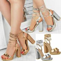 Womens Ladies Diamante Block High Heel Sandals Ankle Tie Up Strappy Platforms