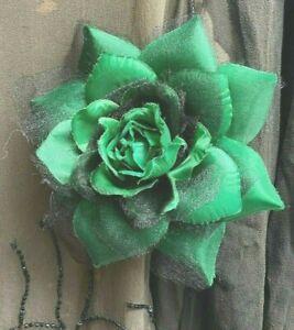 "New Millinery Flower 5.5"" Silk 1pc Accessory Clip/Pin Jade"