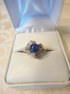 Vintage Women's 14K White Gold Blue Star Sapphire & Diamond Ring Size 7 (G87)