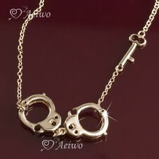 PENDANT NECKLACE 9K GF 9CT ROSE GOLD FILLED HANDCUFF KEY