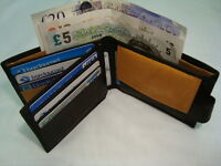 Gents Soft Leather Wallet Black with Contrast Colour with id Flap Button Closer