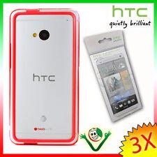 2X Pellicola originale HTC+BUMPER rosso trasparente per One M7 custodia bordi