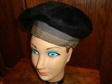 Vintage Chesterfield Black Fur Felt Hat Black with Brown Trim Gorgeous