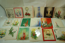 VINTAGE CHRISTMAS CARDS UNUSED LOT 18 1950s BLUE BIRDS CANDLES WREATHS 1f