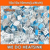 100pcs Small Tiny Cube 10x10x10mm Aluminum Heatsink For With Blue Thermal Pad