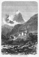 Zermatt, Matterhorn, Schweiz, großer Original-Holzstich von ca. 1880