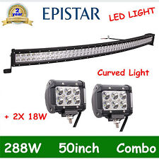 50in 288W EPISTAR FLOOD SPOT CURVED LED LIGHT BAR+2X 4''18W DRIVING OFFROAD DEAL