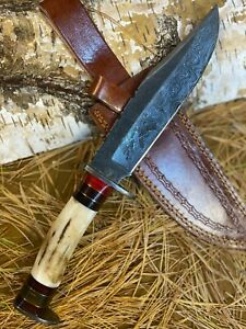 LOUIS MARTIN RARE CUSTOM HANDMADE DAMASCUS ART HUNTING BOWIE KNIFE STAG ANTLER