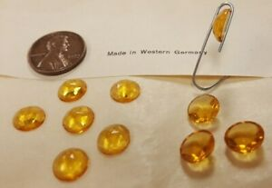 18 VINTAGE WEST GERMAN GLASS TOPAZ 9mm. FACETED ROUND CABOCHONS 4787
