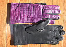 Portolano Embossed Crocco Tech Gloves NEW Leather Plum & Black Size 8 Cashmere