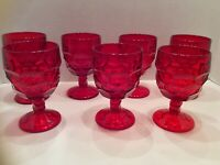 Fostoria Honeycomb Thumbprint Ruby Red  Footed Goblets -Set Of 7