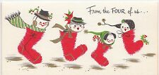 Vintage Greeting Card Christmas Snowman Family Stockings From the Four of Us L16