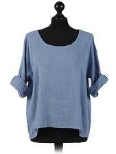 New Ladies Italian Plain Linen Crop Top Women Blouse Lagenlook Top Plus Sizes