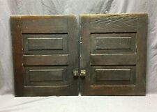 Antique Pair Country Cupboard Doors Cabinet Kitchen Vtg Chic Old 19x24 1246-20B