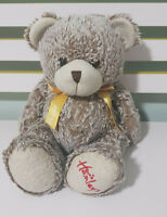 PLUSH TOY ABOUT 24CM SEATED! GOLD BOW BROWN BEAR TEDDY BEAR HAMLEYS SOFT TOY!