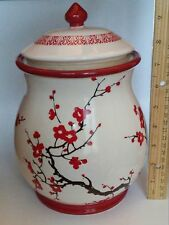 Nonni's Ceramic Biscotti & Cookie Jar with Asian Red Cherry Blossom Tree Design