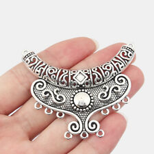 2x Large Tibetan Silver Crooked Tube Pendants Connector Beads Jewellery Findings