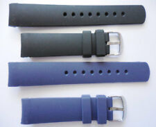 22mm NST BFC two Replacement Black Blue Silicone Band Fit Nautica Watch N14555G