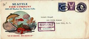 1943 Denver Colorado Registered Prexie Cover Seattle Fish Company - Mermaids