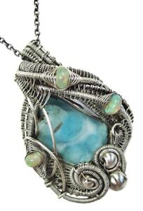 Blue Botyroidal Hemimorphite Druzy Wire Necklace in Sterling Silver with Opals