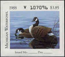 MICHIGAN #13 1988 STATE DUCK STAMP CANADA GOOSE by John Martens