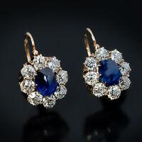 3Ct Oval Cut Blue Sapphire Diamond Huggie Hoop Earrings 14K Yellow Gold Over