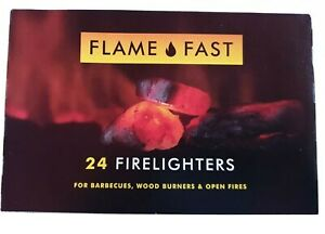 24 X Firelighters Fire Lighters Long Burning Flame Fast Barbecue BBQ Oven