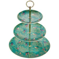 Portmeirion Sara Miller 22 carat gold Chelsea Collection green 3 tier cake stand
