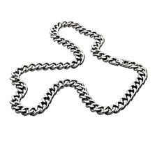 Men's Silver Necklace Chain 10mm Titanium Curb Chain Link Necklace