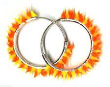 Pair Unisex Teens Silicon Cone Fire Hinged Sleeper Hoop Loops Earrings Size 14mm