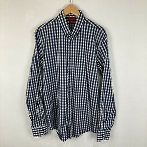 Zara Mens Button Up Shirt Size XL Slim Fit Blue Check Long Sleeve Collared