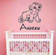 Lion King Simba Baby Custom Name Vinyl Sticker Personalized Disney Wall Decal l6