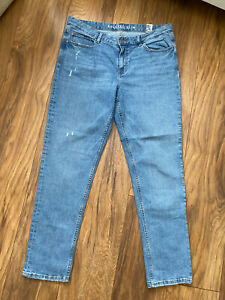 Marks And Spencer Blue Distressed Relaxed Slim Jeans 14